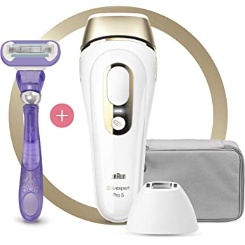 Braun IPL Silk Expert Pro 5 PL5117, Latest Generation Permanent Laser Hair Removal, Precision Head for Body and Face, White and Gold, with Venus Swirl Razor and Premium Pouch, Clinically Tested