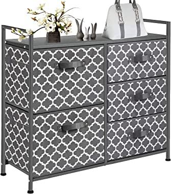 Chest of Drawers Dressers for Bedroom,5 Large Drawers Organizer Storage Tower Furniture with Sturdy Steel Frame, Wood Top, Ea