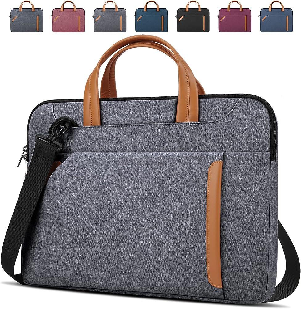Lubardy borsa porta pc tracolla unisex in oxford impermeabile grigio chiaro