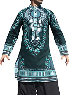 RaanPahMuang 正式 Kurta 长袖立领系扣 Dashiki 衬衫