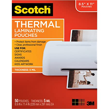 Scotch Thermal Laminating Pouches, 5 Mil Thick for Extra Protection, 8.9 x 11.4-Inches, 5 mil thick, 50-Pack (TP5854-50)