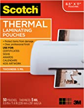 Scotch Thermal Laminating Pouches, 5 Mil Thick for Extra Protection, 8.9 x 11.4-Inches, 5..