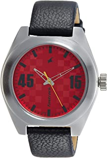 FaSTRaCK Gents's Red Dial Color Leather Strap Watch - 3110SL02