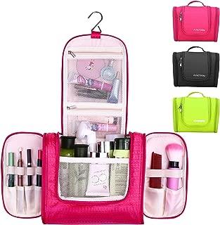 Hanging Toiletry Bag By F.FETIVIN .Durable Metal Hook - Waterproof Women's Makeup Organizer Bag &Men's Shave Travel Organizer. (Black) (Pink)