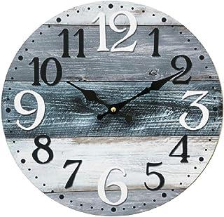 Rebecca Mobili Horloge Murale, Blanc Gris Bleu, Bois MDF, Style Vintage, pour la Cuisine Salon - Dimensions Ø 33,8 cm x P ...