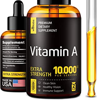 Vitamin A Supplement - Organic Vitamin A Palmitate - Made in The USA - Vitamin A Drops with MCT Oil - Natural Vitamin A 10...