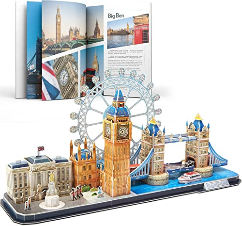 high quality CubicFun 3D Puzzle for Adults London Cityline Architecture Building Model Kits Collection Toys, Souvenir and Room Decor Gifts online sale for Teens and outlet sale Kids, Tower Bridge Big Ben Buckingham Palace 107 Pieces outlet sale