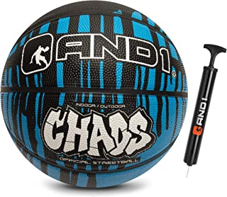 "AND1 Rubber Basketball & Pump (Drip Collection)- Official Size 7 (29.5"") Streetball, Made for Indoor and Outdoor Basketball Games"