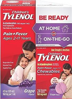 Children`s Tylenol Liquid (4 fl. oz) & Chewable (24 ct), Pain Relief, Grape, 2 pc bundle