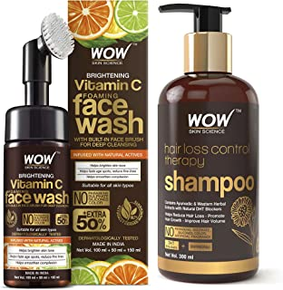 WOW Skin Science Brightening Vitamin C Foaming Face Wash & WOW Skin Science Hair Loss Control Therapy Shampoo