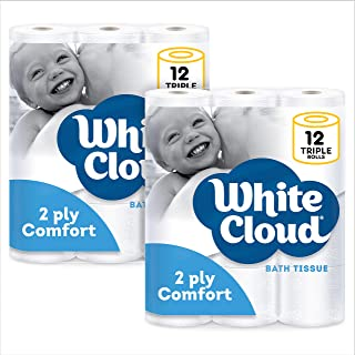White Cloud 2-ply Comfort Toilet Paper – 12 Roll 2-Pack, 24 Total Triple Rolls, 400 Sheets per Roll