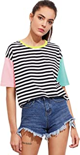 Romwe Women Crewneck Striped Short Sleeve T-Shirt Top Blouse