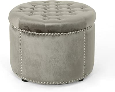 Amazon Com Christopher Knight Home Ivy Glam Velvet And Tempered Glass Coffee Table Ottoman Smoke Black Furniture Decor