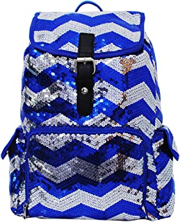 2 Tone Sequin Drawstring Cheer Yoga Dance Girly School Backpack Bookbag (Blue)