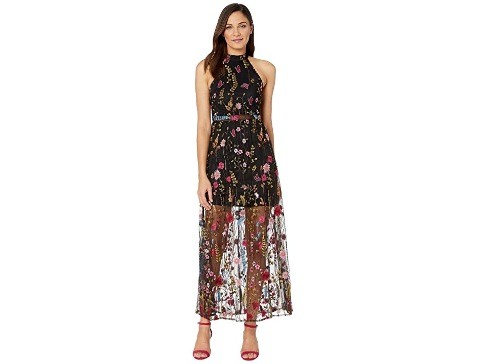 Betsey Johnson Floral Embroidered Maxi Dress (Black Multi) Women