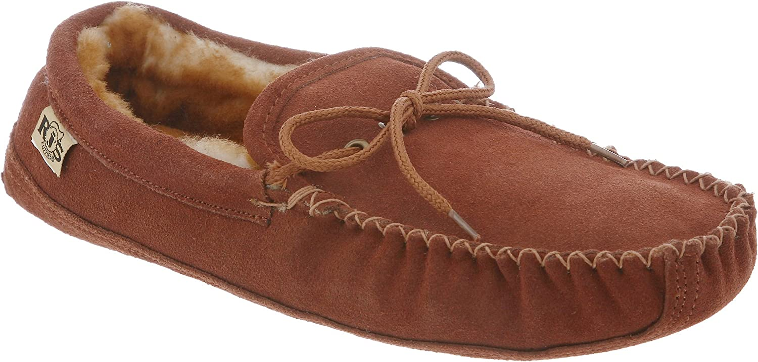 RJ's Fuzzies Mens Sheepskin Leather Lined Soft Sole Moccasins