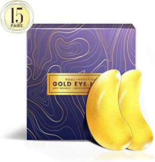 24K Gold Collagen Under Eye Patches - Dark Circles Eye Bags Puffy Eyes Treatment Mask - USA Technology Formula Upgraded Pure Natural Ingredients Extract - 15 Pairs