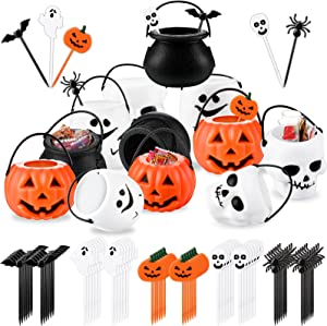 12 Pieces Mini Cauldron Plastic Halloween Candy Bucket Holder and 60 Pieces Halloween Food Cupcake Toppers Toothpicks Pumpkin Buckets Witches Cauldron Holder for Halloween Party Kids Birthday Supplies