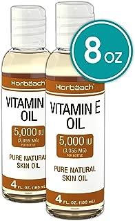 100% Natural Vitamin E Oil 5000 IU   8 oz (2 x 4oz)   For Skin, Hair & Face   Vegetarian, Non-GMO, Gluten Free   By Horbaach