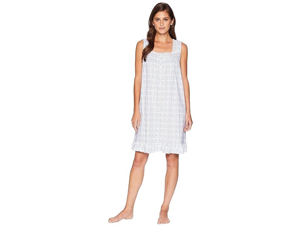Eileen West Sleeveless Short Nightgown (Ivory/Blue) Women