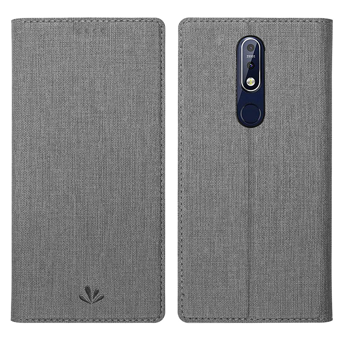 Simicoo Nokia 7.1 Flip PU Leather Slim Wallet case Card Holster Stand Magnetic Cover Clear Silicone TPU Full Body Shockproof Pocket Thin Wallet Case for Nokia 7.1 (Grey, Nokia 7.1)