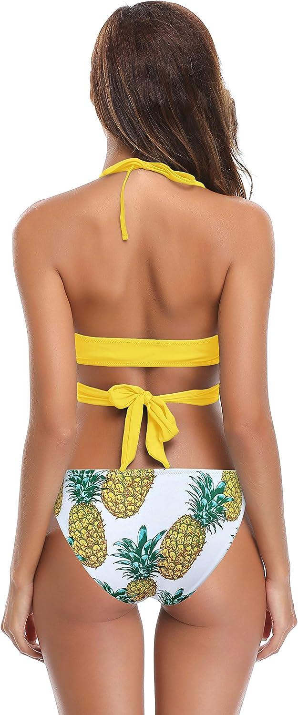 SHEKINI Damen Zweiteilige Bikini Set Crossover Badeanzug Strandkleidung Neckholder Triangel Oberteil Bandeau Strandmode Sport Split Blumendruck Bikinihose Zitronengelb