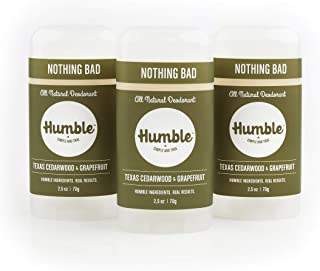 Humble All Natural Deodorant, Aluminum and Paraben Free, Cruelty Free Men's and Women's Deodorant, Texas Cedarwood and Grapefruit, 3-Pack