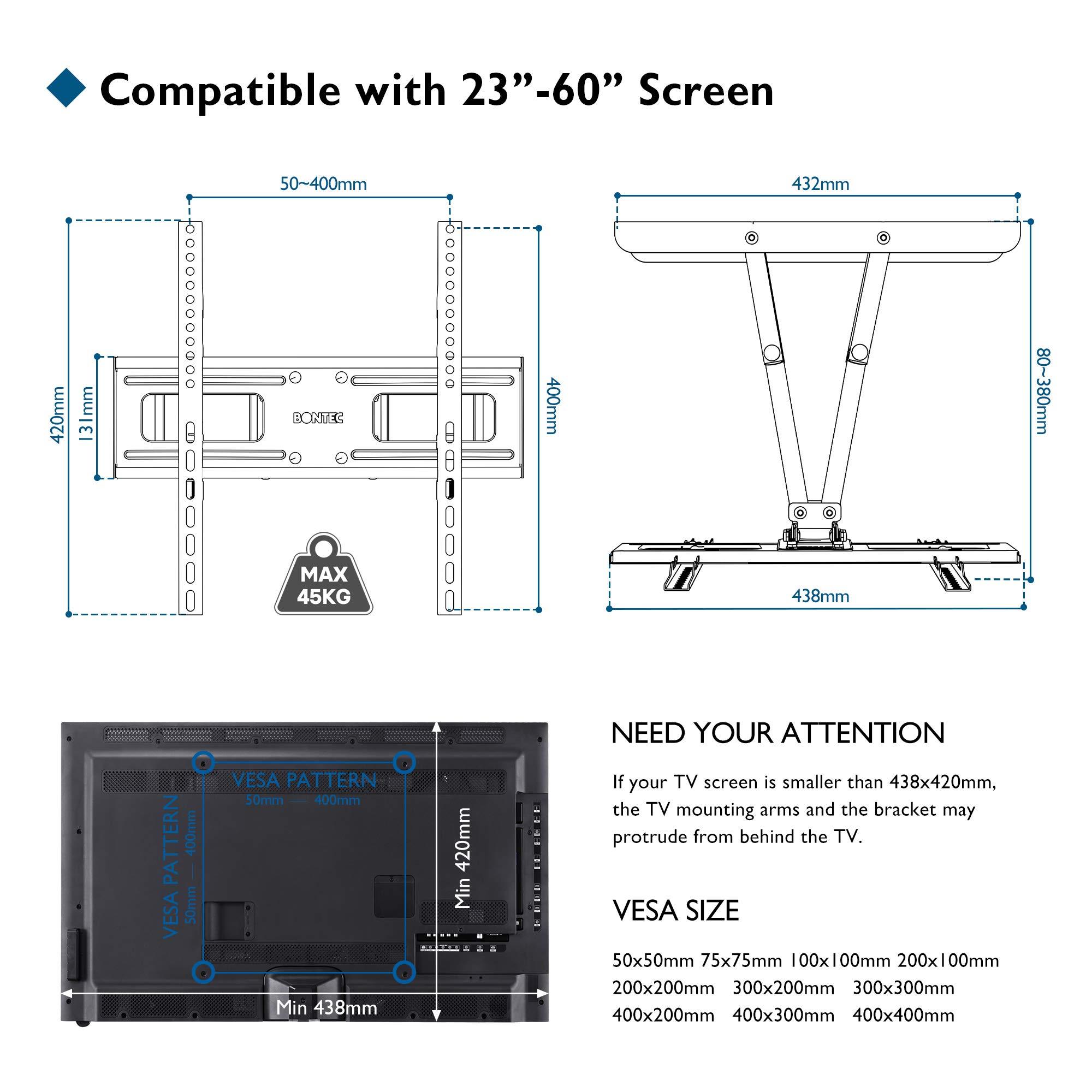 Bontec Soporte de Pared para TVs Planos & curvos de 23-60 Pulgadas, se extiende la Inclinación Giratoria, Doble Brazo y Movimiento Completo, Incluye Cable HDMI, Nivel topográfico, 5 Correas de Velcro: Amazon.es: