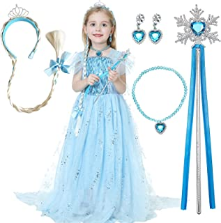 Deaboat Froz 2 Blue Princess Dress Els Costume Ice Queen Skirt with Cosplay Accessories for Toddlers Little Girls