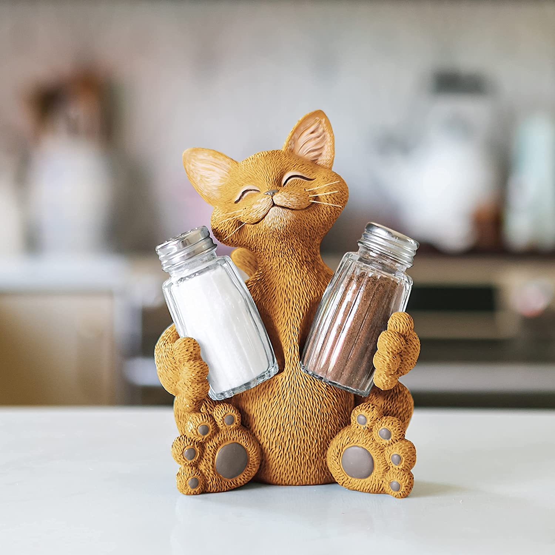 Whimsical Orange Cat Salt & Pepper Shaker Holder Figurine Decorative Collectible - Happy Cat Collection - Cat Lover Gifts for Women, Cat Lover Gifts for Men, Kitchen Table Decor, Cute Cat Gifts