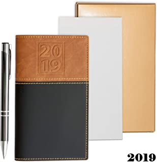 2019 Weekly Pocket Calendar Organizer   Business Polished Chrome Trim Pen & a Notepad Included   12 Months Week-in-View Planner, Weekly Quotes   All in a Gold Gift Box Set.