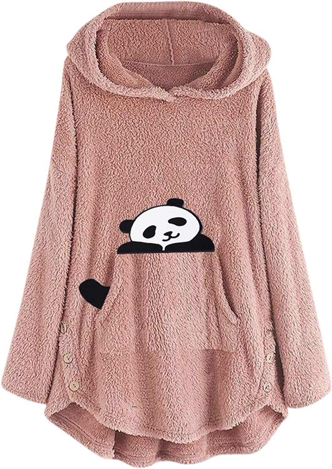 Plus Size Tops for Women Cute Cat Embroidered Blouse Cozy Skin-Friendly and Furry Hoodie Long Sleeve Pockets Shirt