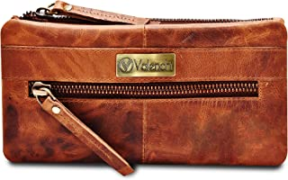 RFID Soft Flexible Leather Wallet for Women-Credit Card Slots, Mobile case Coin Purse with ID Window - Handmade by LEVOGUE...