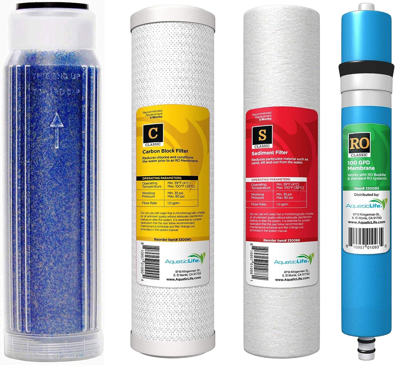 Aquatic Life TFC RO Membrane Plus Reverse Osmosis Deionization (RODI) 10  Replacement Filter Kit (Sediment Cartridge, Carbon Cartridge, color Indicating DI Cartridge with ResinTech MBD30NG Resin)