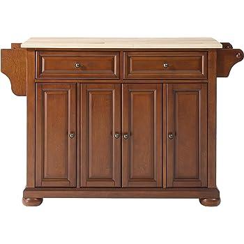 Classic Cherry Crosley Furniture Alexandria Kitchen Island with Natural Wood Top