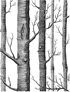 """Black and White Peel and Stick Wallpaper - Contact Paper or Wall Paper - Self Adhesive Wallpaper - Easily Removable Wallpaper - Black and White Wallpaper (Trees) - 17.71"""" Wide x 118"""" Long"""