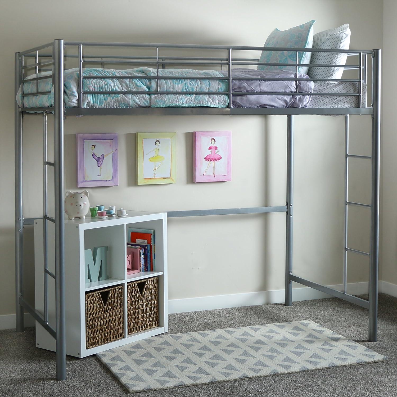 Amazon Com Walker Edison Orion Urban Industrial Metal Twin Over Loft Bunk Bed Twin Size Silver Furniture Decor