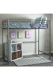 Walker Edison Modern Metal Pipe Twin Size Loft Bed Kids Bunk bed Bedroom Storage Guard Rail Ladder, Twin, Silver