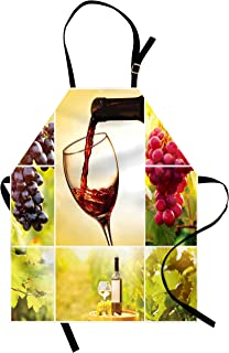 Ambesonne Wine Apron, Habitat Collage with Pouring Wine Bottle and Leaves Farm Harvest Time in Autumn Village, Unisex Kitchen Bib with Adjustable Neck for Cooking Gardening, Adult Size, Green Red