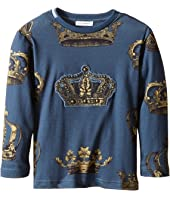 Dolce & Gabbana Kids - Crown Print Long Sleeve T-Shirt (Toddler/Little Kids)