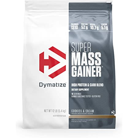 Dymatize Super Mass Gainer Protein Powder, 1310 Calories & 52g Protein, 10.7g BCAAs, Mixes Easily, Tastes Delicious, Cookies & Cream, 12 lbs
