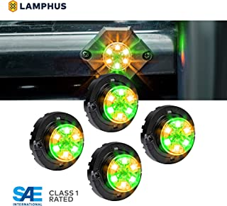 LAMPHUS 4pc SnakeEye III LED Hideaway Strobe Light [SAE Class 1] [IP67 Waterproof] [72 Flash Modes] [TBT Function] Emergecy Warning Lights for Police Fire Construction Vehicle - Amber/Green
