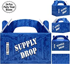 Supply Drop Favor Box   24 Count Party Treat Boxes   Battle Gamers Goodie Loot Drop Box   Blue Crate Party Supplies Gamer Decorations