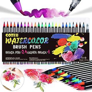 Gozlu Pennarelli Acquerellabili, 24 Brush Pen Lettering con Flessibile Nylon + 1 Pennello Acqua + 8 Carta Acquerello, Penn...
