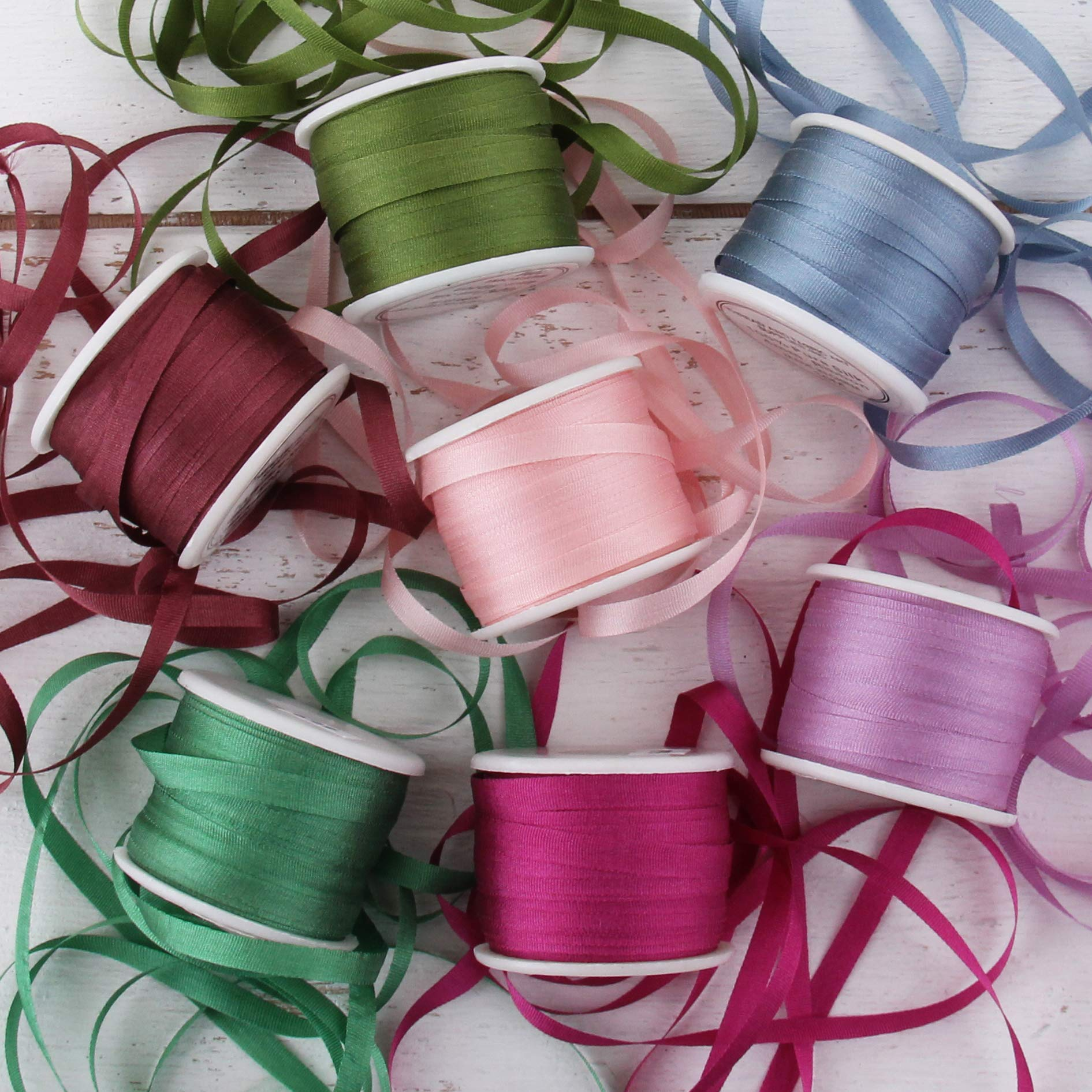 ThreadNanny New 20 Spools of 100/% Pure Silk Ribbons 4mm x 10 Meters