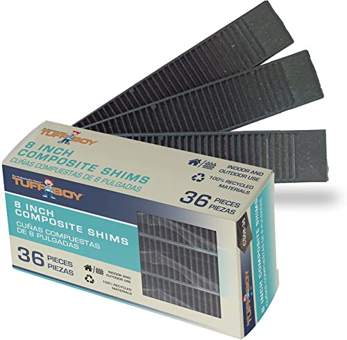 """TUFFBOY 8"""" Composite Shims for Indoor/Outdoor use. 36 Pack Heavy Duty, with Extreme Load Support, and Easy to snap DI..."""