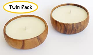 Hawaiian Candle & Bath Natural Non Toxic, Non GMO Tuberose Scented Soy Candle with Acacia Wood Bowl, Twin Pack