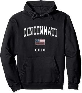 Cincinnati Ohio OH Vintage American Flag Sports Design Pullover Hoodie