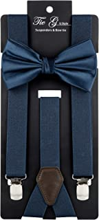 Tie G Solid Color Men's Suspender + Woven Solid Bow tie set, Adjustable Brace,Strong Clip,Leather,Elastic Band.Wedding Ties