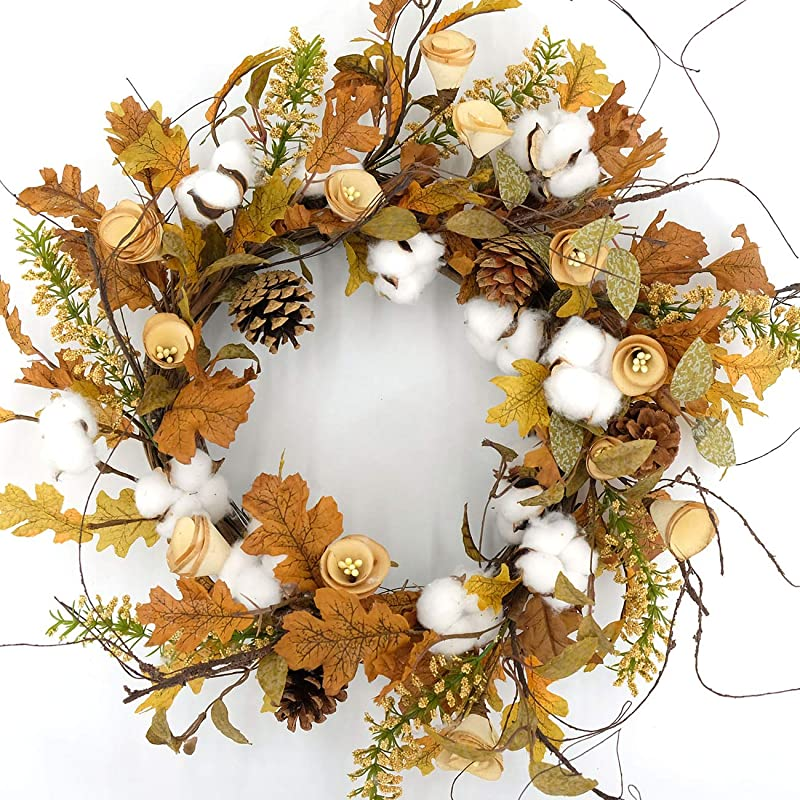 Idyllic Artificial Cotton Balls Wreath Autumn Wreath With Green And Yellow Leaves Flower Wreath For Front Door Indoor Wall Wedding Home Decoration